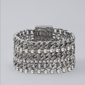 WHBM multi tie chain and glass stone bracelet